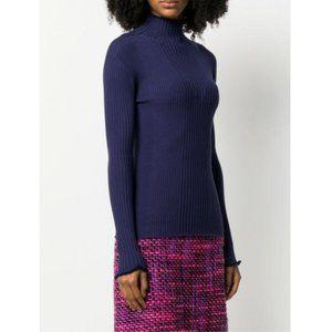 ESCADA Navy Blue Ribbed Knit Turtleneck Sweater